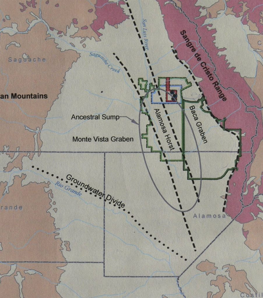 Figure 10. General Geology as in the Draft Environmental Assessment. Note they extend the Baca Graben east to the mountain front and that it includes the Baca Grande community as well the Great Sand Dunes National Park and Preserve.