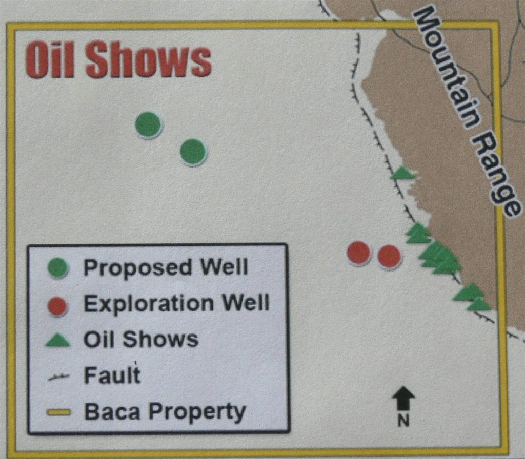 "Figure 4. Location of ""oil shows"" (green triangles), Baca #1 and #2 wells (red circles) and proposed well locations (green circles) (from Lexam website)."