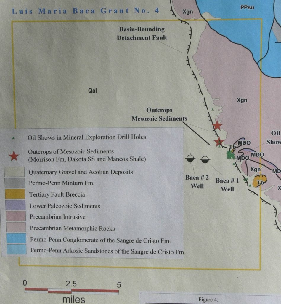 "Figure 5. ""Oil shows"" (green triangles) along Sangre de Cristo fault along eastern edge of San Luis Basin."