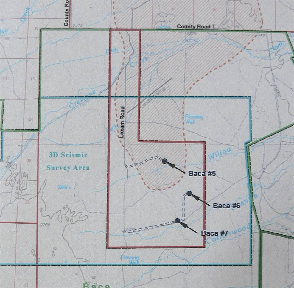 Figure 3. Location of Lexam's proposed three exploratory wells on the BNWR
